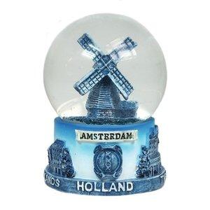 Typisch Hollands Snow globe Delft blue - windmill - Large 8 cm