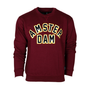 Holland fashion Sweater Ronde hals - Mike (bordeaux) Patch Amsterdam