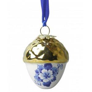 Heinen Delftware Delfts blauwe kerstboom decoratie ( Noot-goud)