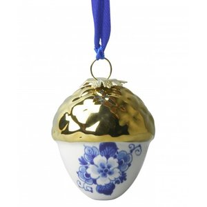 Typisch Hollands Delft blue Christmas tree decoration (Nut-gold)