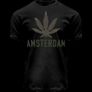 Holland fashion T-Shirt - Black - Terry - Amsterdam (cannabis)