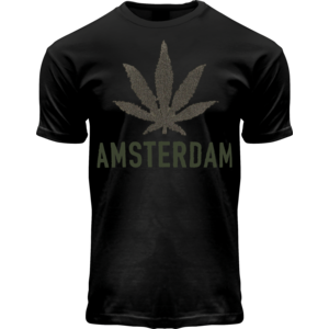 Holland fashion T-Shirt- Zwart - Terry - Amsterdam (cannabis)