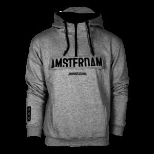 Holland fashion Amsterdam - Hooded sweater met halve rits & kangaroo-flap