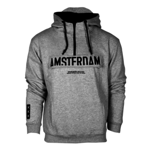 Holland fashion Amsterdam - Hooded sweater with half zip & kangaroo flap