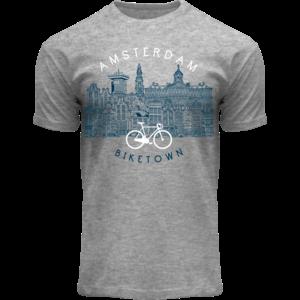 Holland fashion T-shirt - Amsterdam - Bike Town - sportief grijs