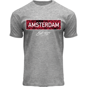 Holland fashion Trendy Amsterdam t-shirt - Grijs met rode tag