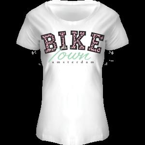 Holland fashion Ladies Shirt Amsterdam (BIKE) leopard lettering