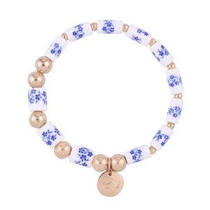 Heinen Delftware Armband geregen met Delfts blauwe kralen