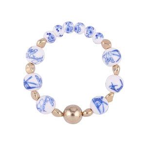 Heinen Delftware Armband geregen met Delfts blauwe kralen - Molens en bloemen