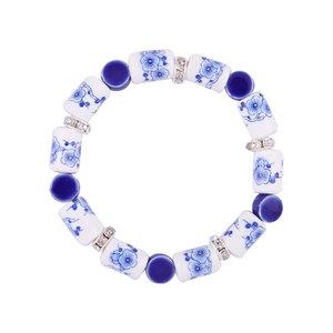 Heinen Delftware Armband geregen met Delfts blauwe kralen - Bloemen