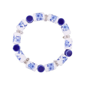 Heinen Delftware Bracelet strung with Delft blue beads - Flowers