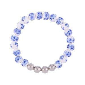 Typisch Hollands Armband geregen met Delfts blauwe kralen - Bloemen