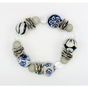 Heinen Delftware Armband - Delfts blauw - kristal  - wit