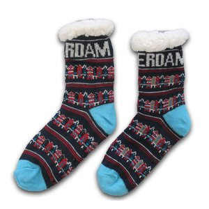 Typisch Hollands Fleece Comfort Socks - Facade Houses - Blue