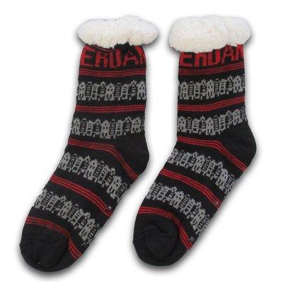 Typisch Hollands Fleece Comfort Socken - Facade Houses - Schwarz