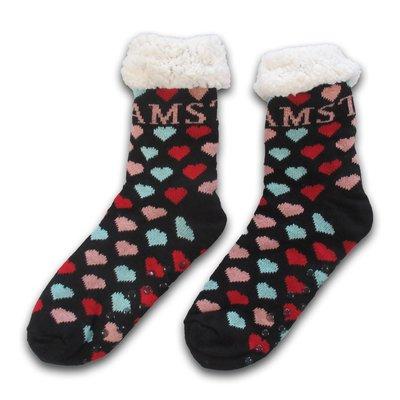 Typisch Hollands Fleece Comfort Socken - bunte Herzen - ich liebe Amsterdam