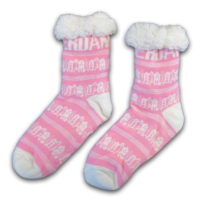 Typisch Hollands Fleece Comfort Socken - Fassadenhäuser - Pink-Weiß