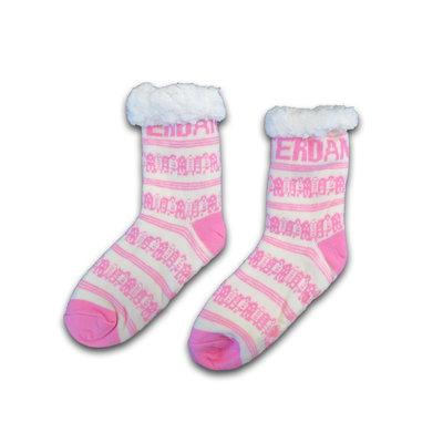 Holland sokken Fleece Comfortsokken - Gevelhuisjes - Wit-Roze