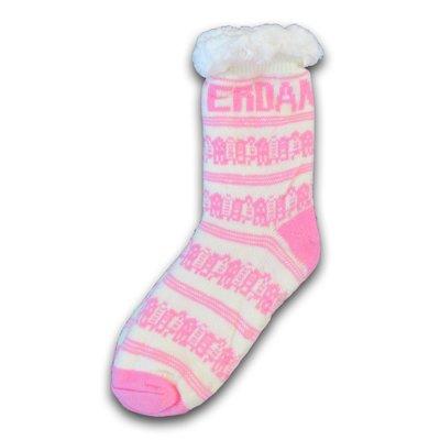 Typisch Hollands Fleece Comfort Socken - Facade Houses - Weiß-Pink