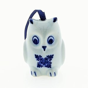 Typisch Hollands Christmas tree hanger - Owl - Delft blue