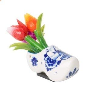 Heinen Delftware Magneet klomp met tulpenboeketje
