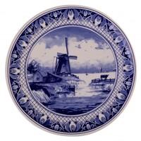 Typisch Hollands Delfter Blau - Wandteller - Traditionelle Mühlenlandschaft 16 cm