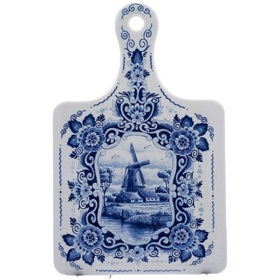 Typisch Hollands Cheese board large Dutch windmill landscape - Delft blue