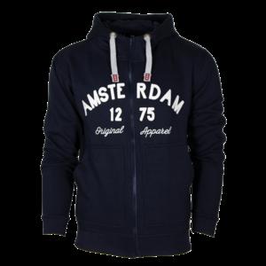 Holland fashion Hoodie met Rits - Amsterdam - Original Apparel - Blauw