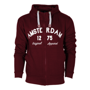Holland fashion Hoodie met Rits - Amsterdam - Original Apparel - Bordeaux