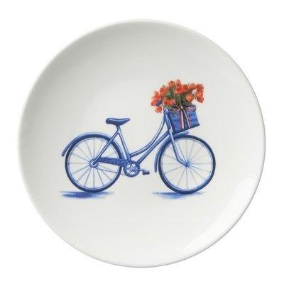 Typisch Hollands Bord fiets 16 cm - Modern blauw