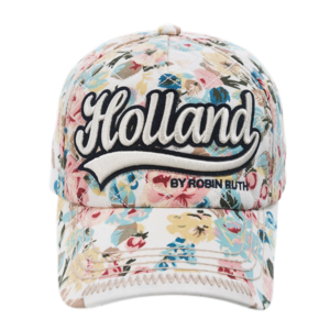 Robin Ruth Fashion Holland cap - with flower print (text embroidery)