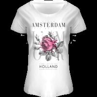 FOX Originals T-Shirt Amsterdam - Bloemen -wit-pink