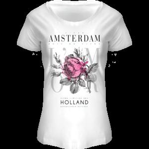 Holland fashion T-Shirt Amsterdam - Bloemen -wit-pink