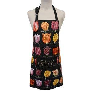 Memoriez Luxe keukenschort - Classic - Tulpendecoratie - Zwart