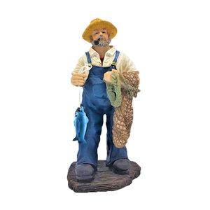 Typisch Hollands Fischerstatue - Fischer mit Netz und Fisch 32 cm