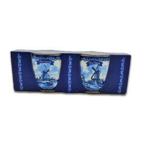 Typisch Hollands Espressotassen - Geschenkbox 2 Tassen Holländische Mühlen