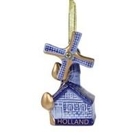 Typisch Hollands Kerstboomdecoratie - Hanger molen - Blauw-goud (giftbox)