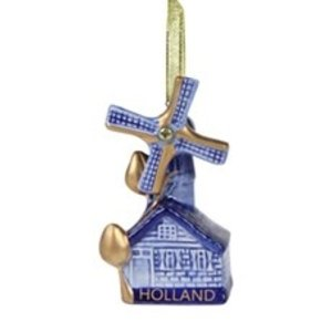 Typisch Hollands Christmas tree decoration - Pendant windmill - Blue-gold (gift box)