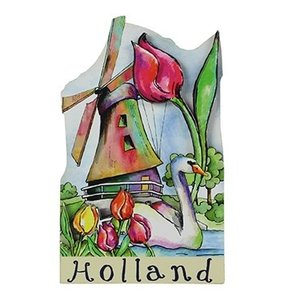 Typisch Hollands Magnet Holland - Windmühle - Tulpen / Schwan