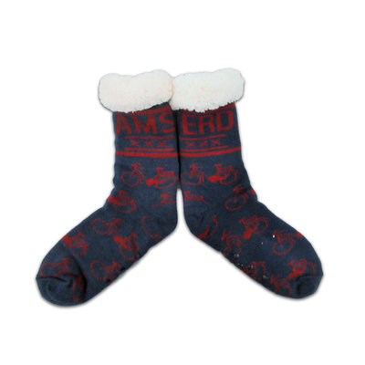 Typisch Hollands Fleece Comfort Socken - Radfahren - Blau - Rot