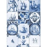 Typisch Hollands Einzelkarte - altes niederländisches Fliesenblau