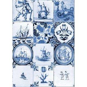Typisch Hollands Single card - old Dutch tile blue