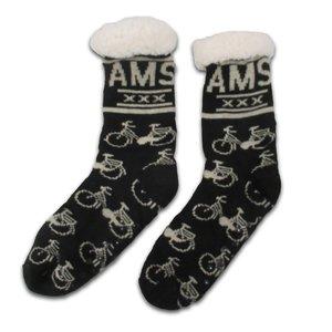Typisch Hollands Fleece Comfort Socken - Radsport - Schwarz-Sand