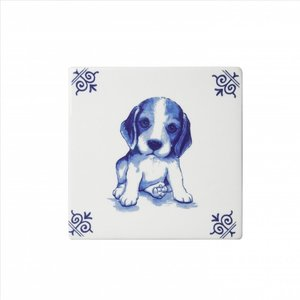 Typisch Hollands Delft blue tile with puppy
