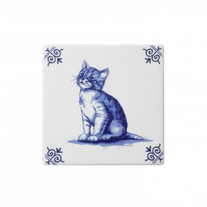 Typisch Hollands Delft blue tile with a cat.