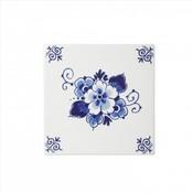 Typisch Hollands Delftsblauwe tegel met een bloemmotief