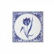 Typisch Hollands Delfter Fliese mit einer Tulpe