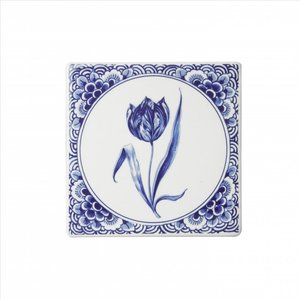 Typisch Hollands Delftsblauwe tegel met een tulp