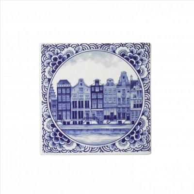 Typisch Hollands Delfter blaue Fliese mit Amsterdam-Kanalhäusern.