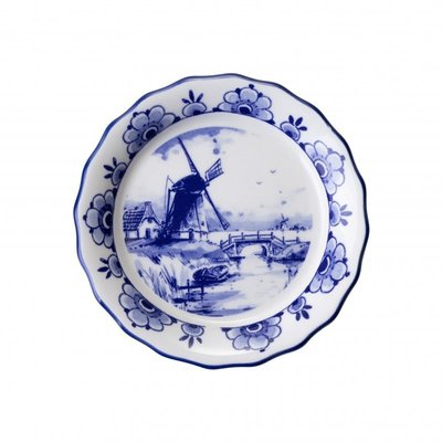 Typisch Hollands Scalloped coaster with mill motif
